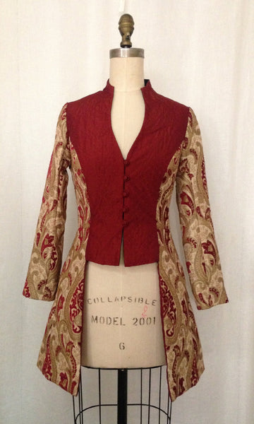 Gold & Burgundy Tapestry Edwardian Jacket, size Small