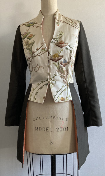 Wool and Embroidered Satin Mid-length Fitted Jacket, size Medium