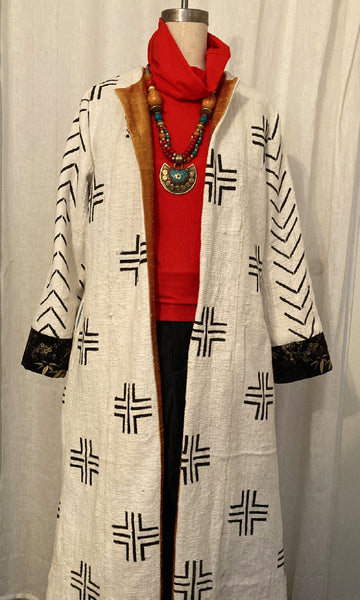 Long White African Mud Cloth Coat