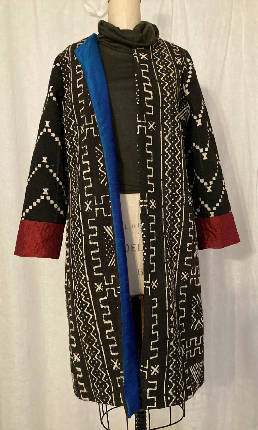Black African Mud Cloth Coat