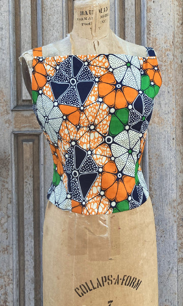 African Wax Print Classic Top, size Medium
