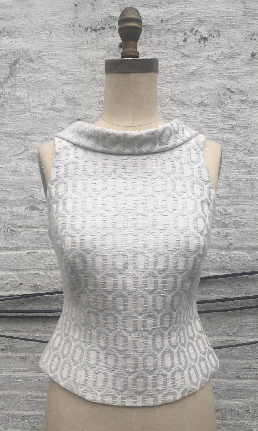Brocade Roll-Collar Top
