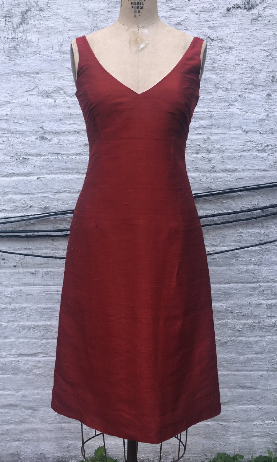 Ruby Red Classic V-neck A-line Cocktail Dress, size X-small