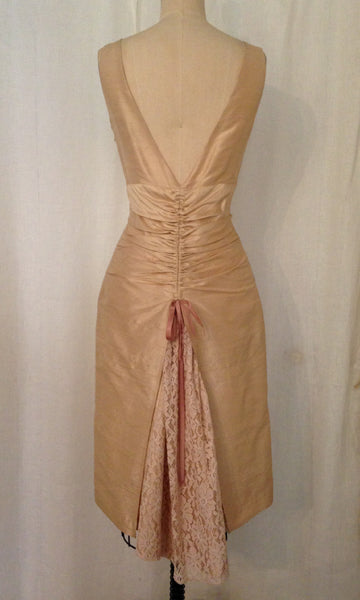 Champagne Sheath Dress with Lace Bustle, size Small
