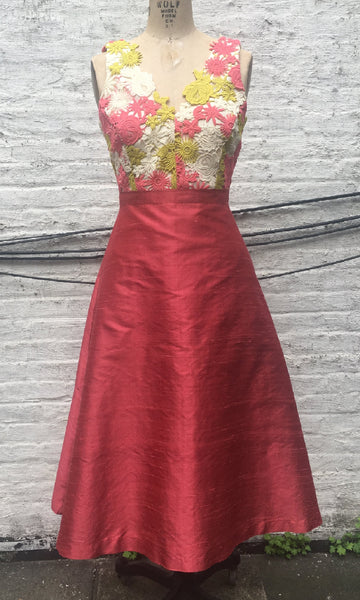 Lace and Shantung Tea-Length Dress