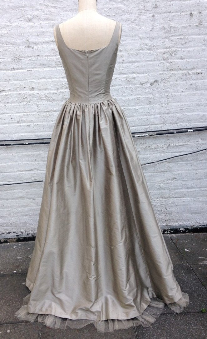 Scoopneck Shantung Ball Gown