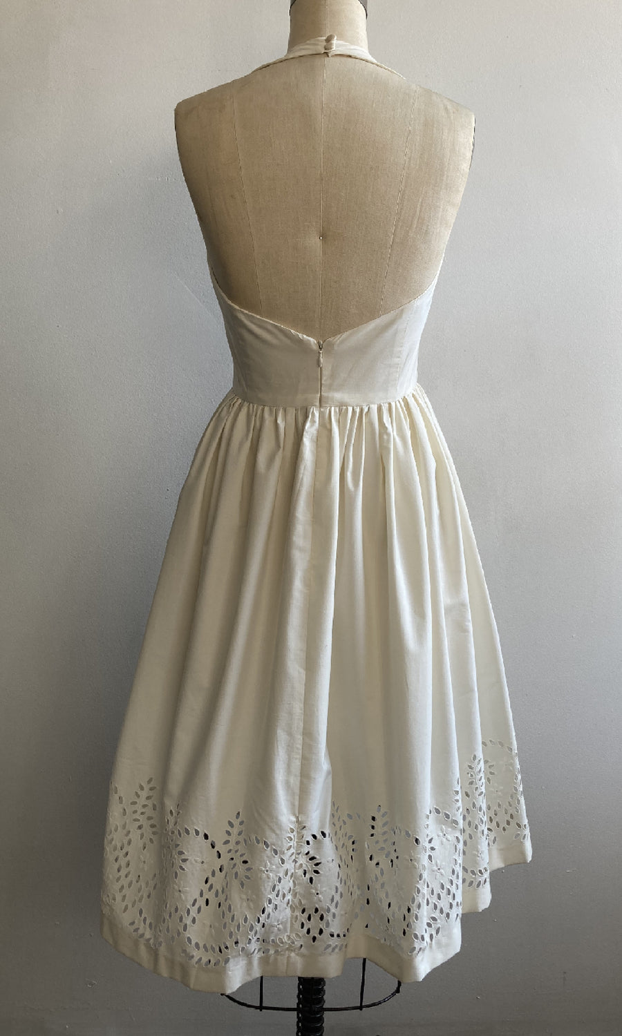 Cream Halter Cotton Eyelet Sundress, size X-small