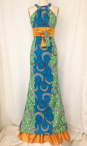 African Print Grecian Halter Long Trumpet Dress, size X-small