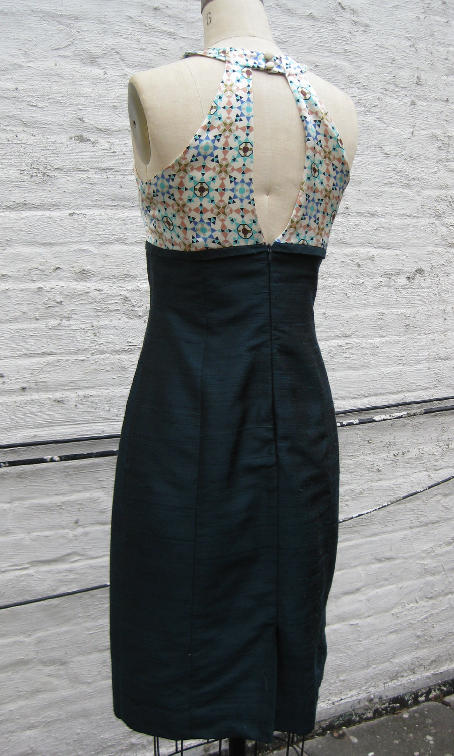 Abstract Print and Bottle Green Grecian Halter Dress, size X-small