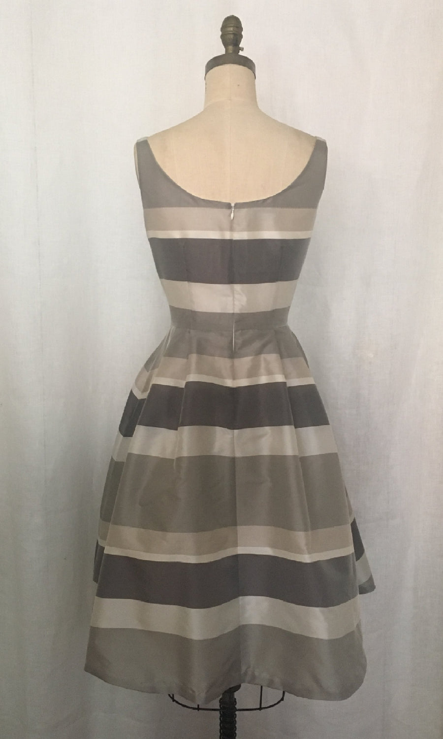 Striped Gray Taffeta Party Dress