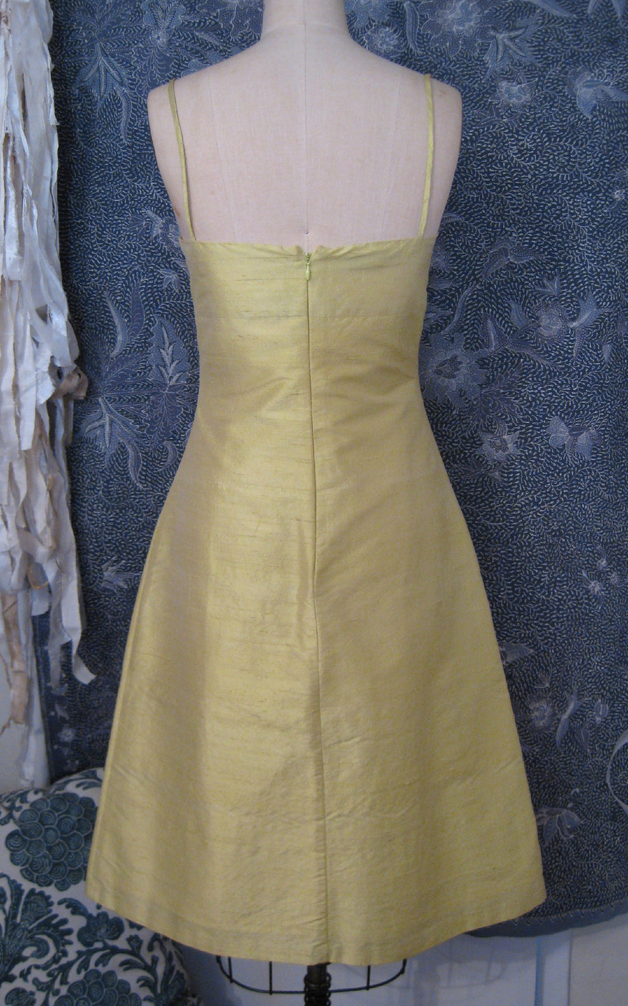 Lemon Shantung A-line Sundress, size X-small