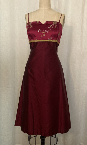 Burgundy Brocade and Shantung Cocktail Dress, Size Large