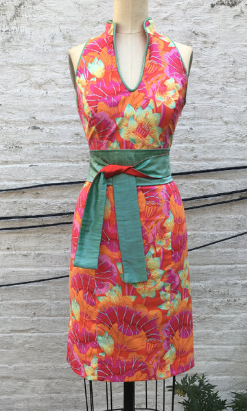 Tropical Print Cheongsam Dress, size X-small