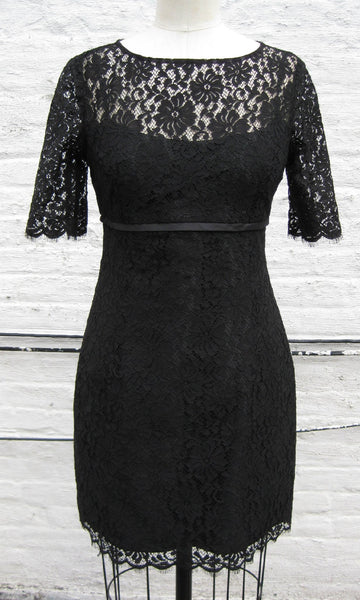 Black Lace Mod Sheath Dress with Sleeves, size Small