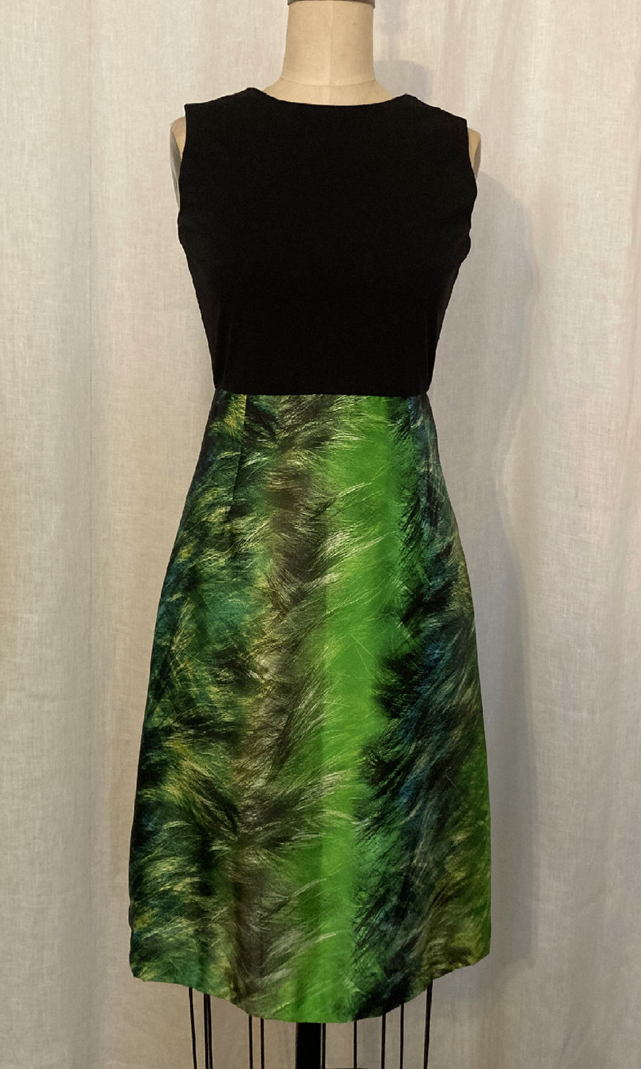 Black Knit and Green Abstract Print Dress, size X-small and Small