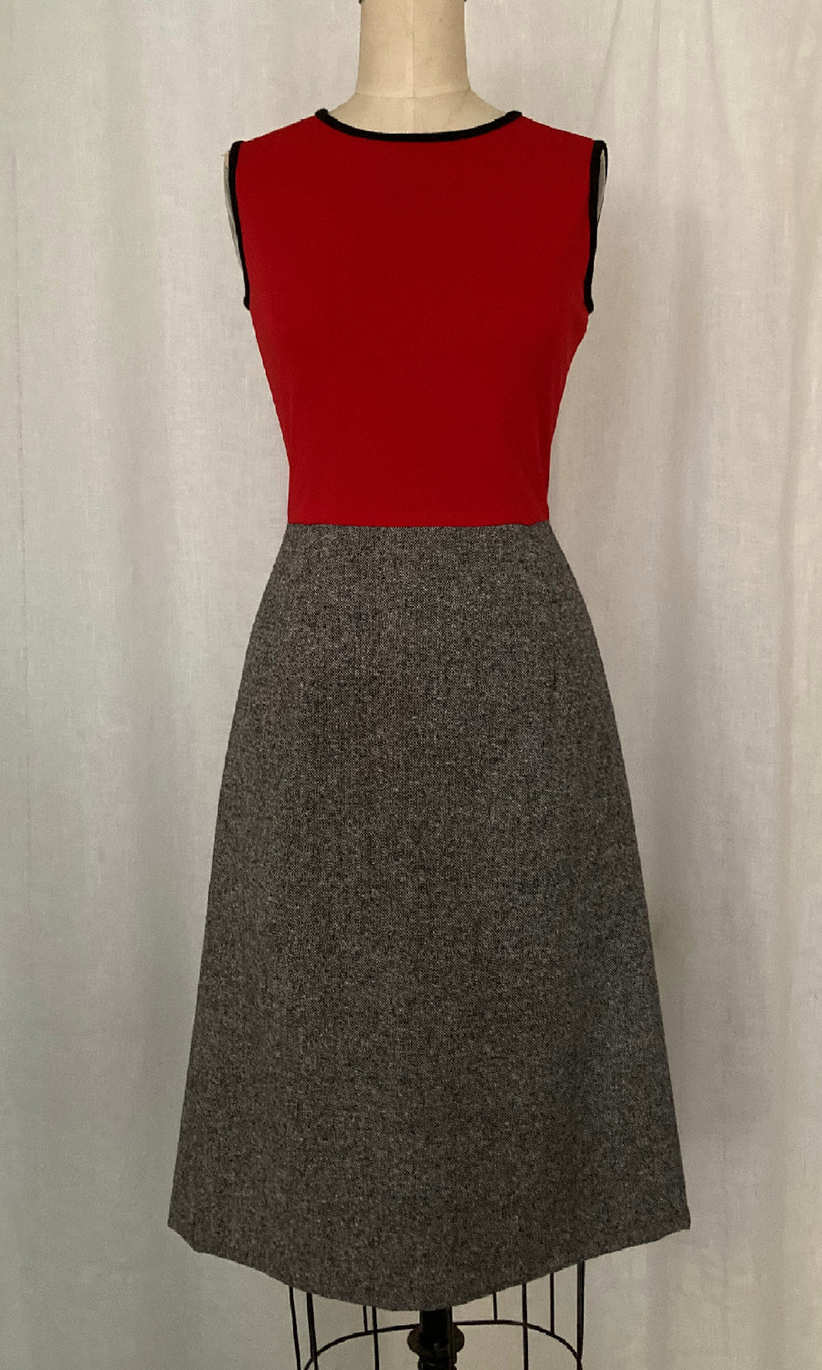Jersey Knit and Wool Day Dress, size Small