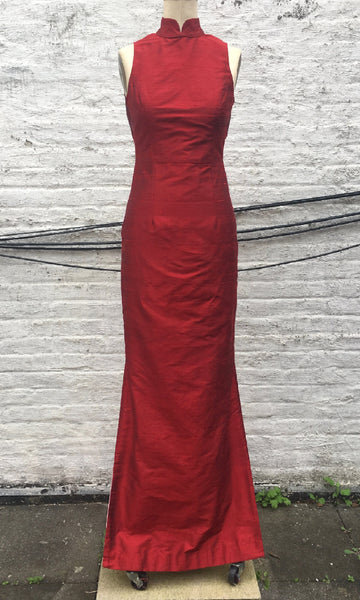 Modern Open-Back Cheongsam Column Dress