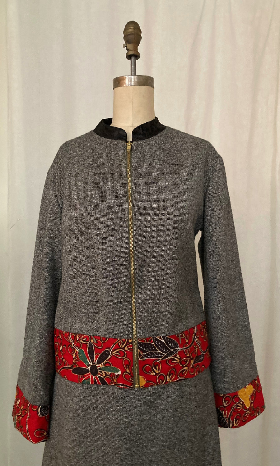 Tweed & Batik Bomber Jacket, size Medium