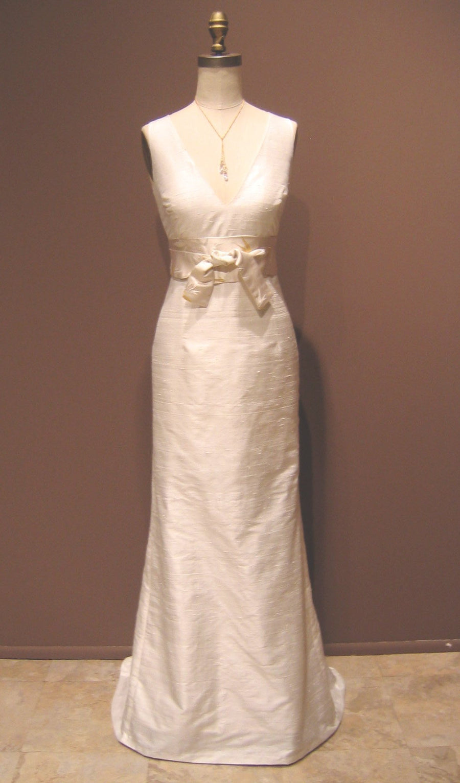 Deep V Simple Shantung Wedding Dress