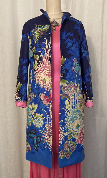 Floral Sateen Mid-length Coat