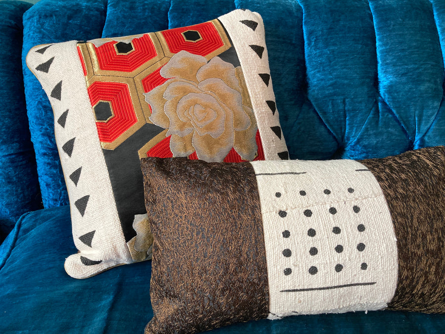 Mixed Media Lumbar Pillow