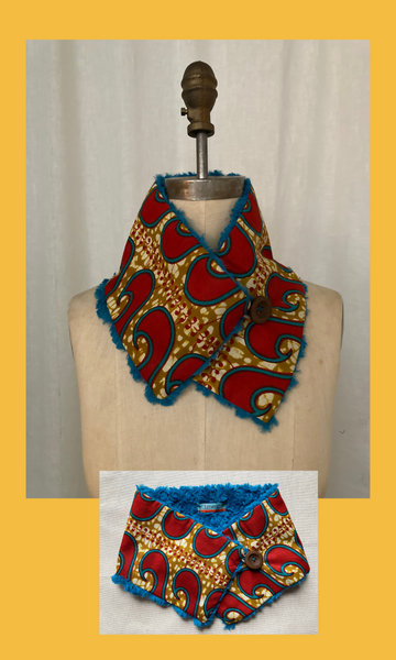 Red & Turquoise African Print Neck Warmer