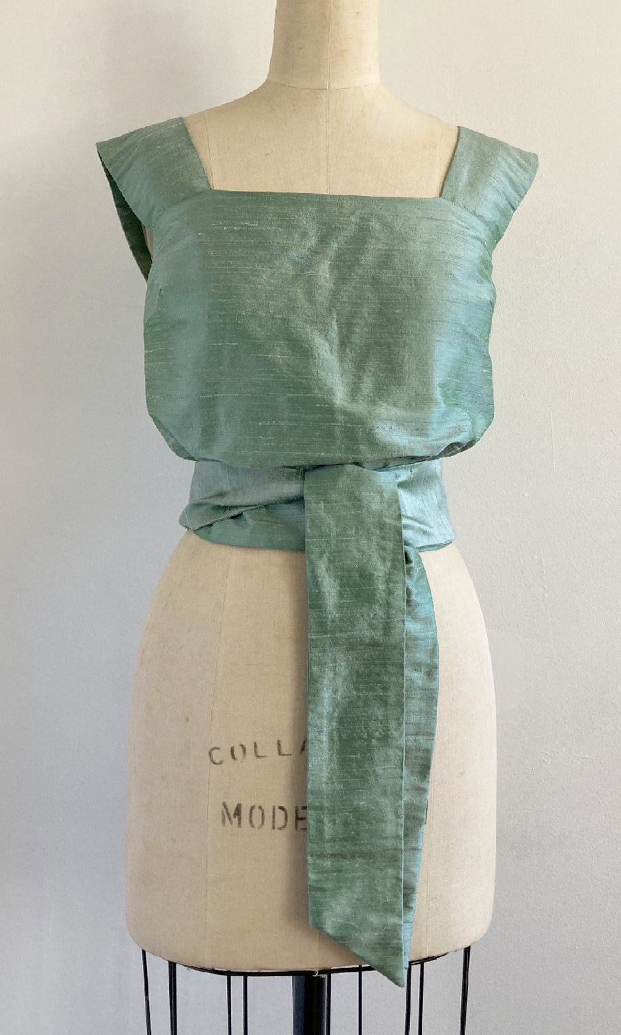 Mint Shantung Tied Apron Top
