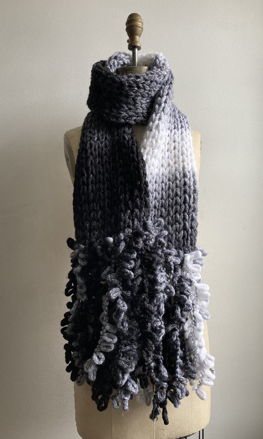 Gray Ombre Handknit Fringed Scarf