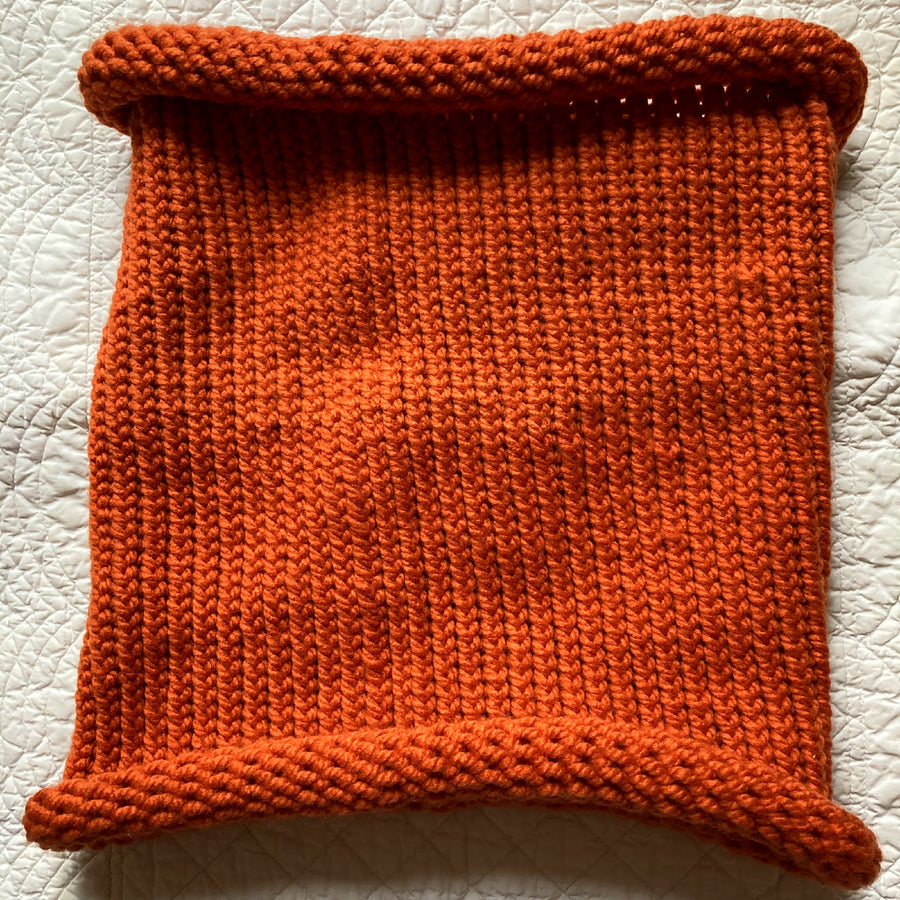 Orange Handknit Cowl
