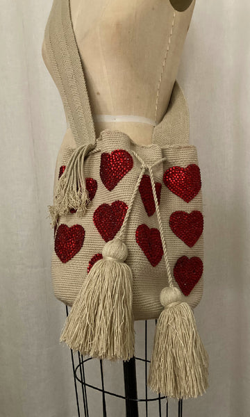 Wayuu Mochila Bag with Hearts