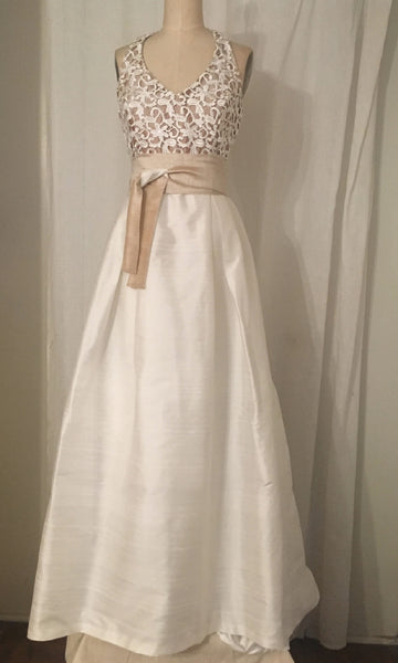 Guipure Lace and Shantung Halter Ball Gown