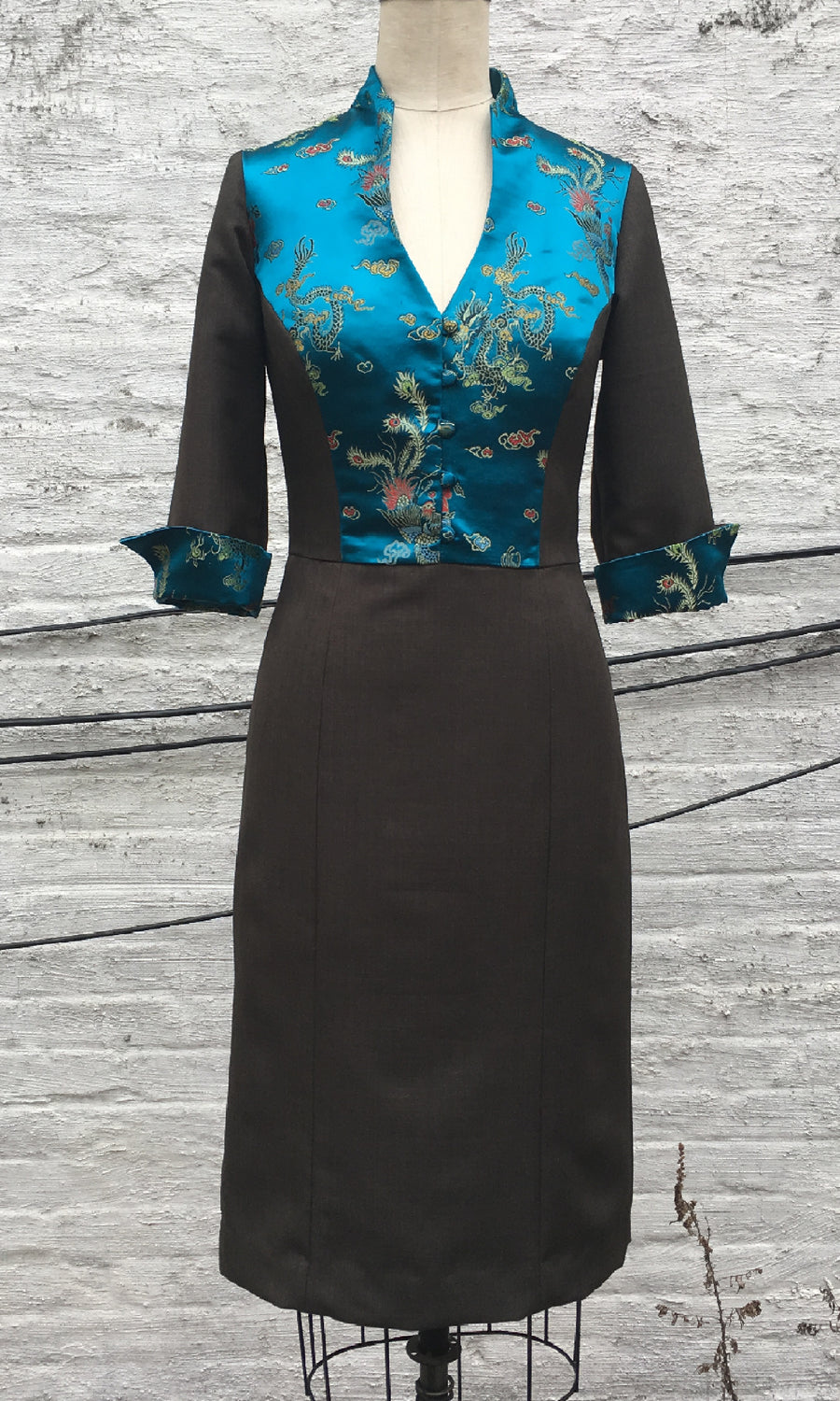 Brocade and Wool Day Dress, size Small