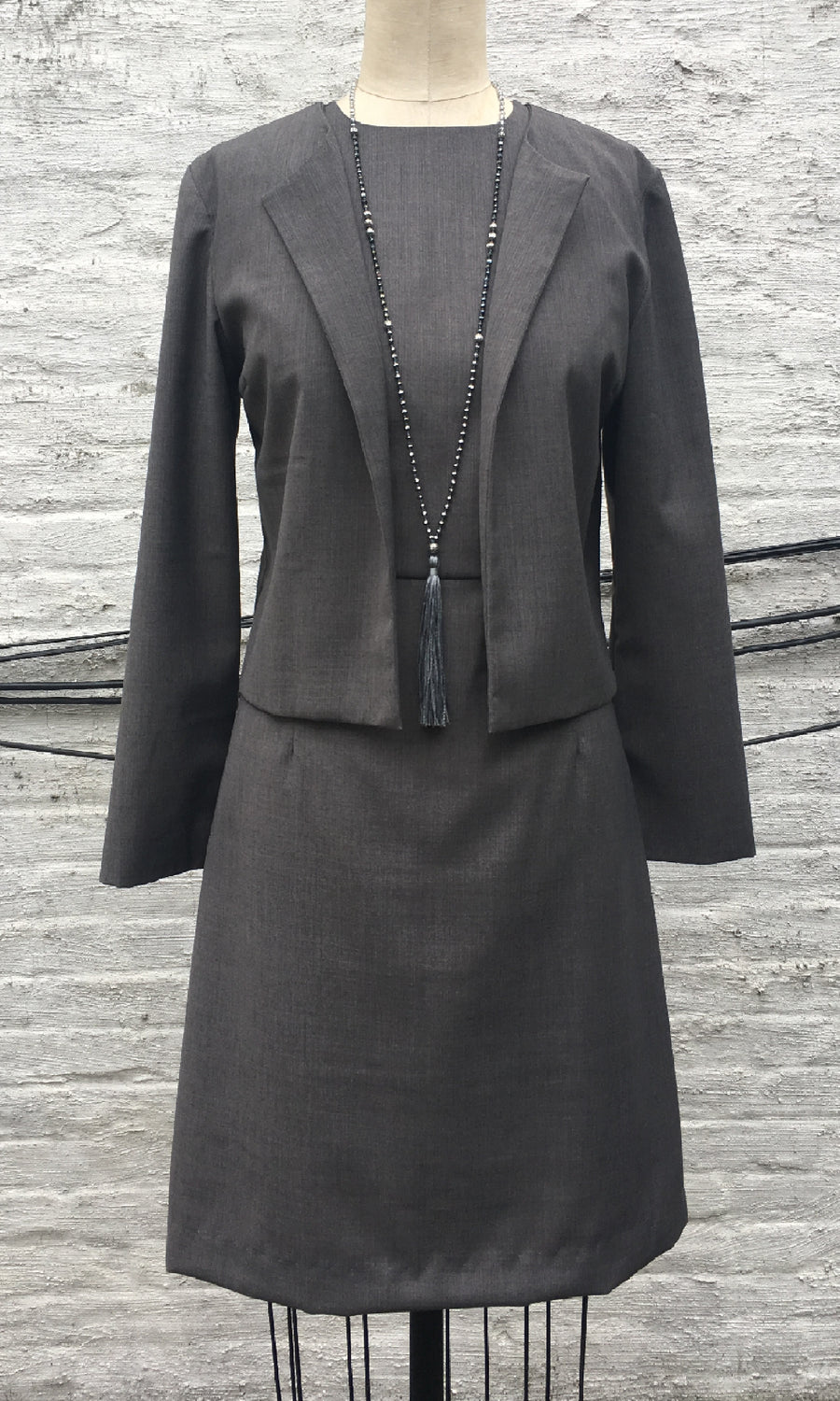Gray Wool Blend Jacket and Dress Set, size Small
