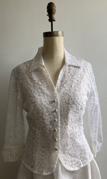 White Lace Shirtjacket, size Small