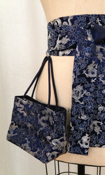 Navy Dragon Brocade Mini Tote