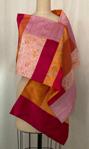 Pink & Orange Patchwork Shawl