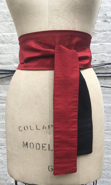 Red and Black Reversible Obi Sash