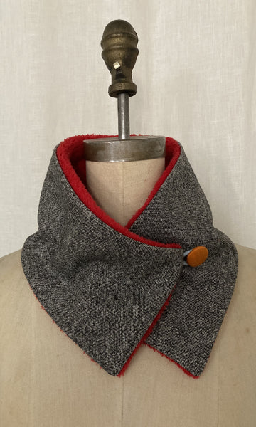 Tweed and Sherpa Neck Warmer