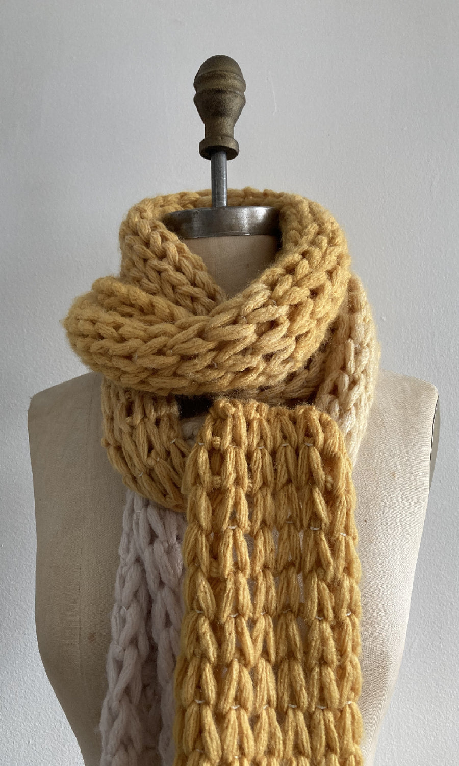 Yellow Handknit Fringed Scarf
