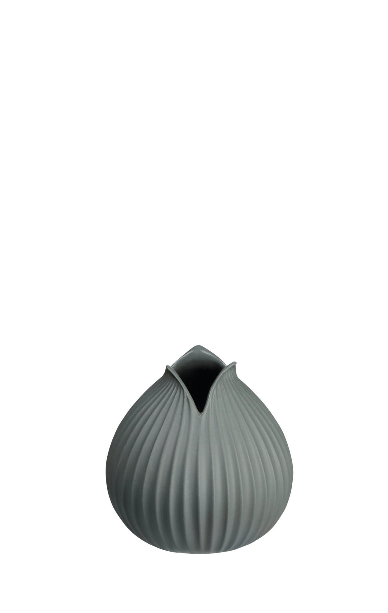 Charcoal Ribbed Tulip Vase, S