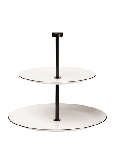 Two Tier Cake Stand, Black and White