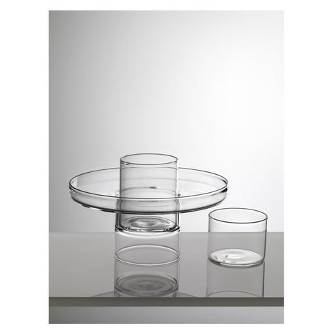 Footed Glass Plate with 2 Containers