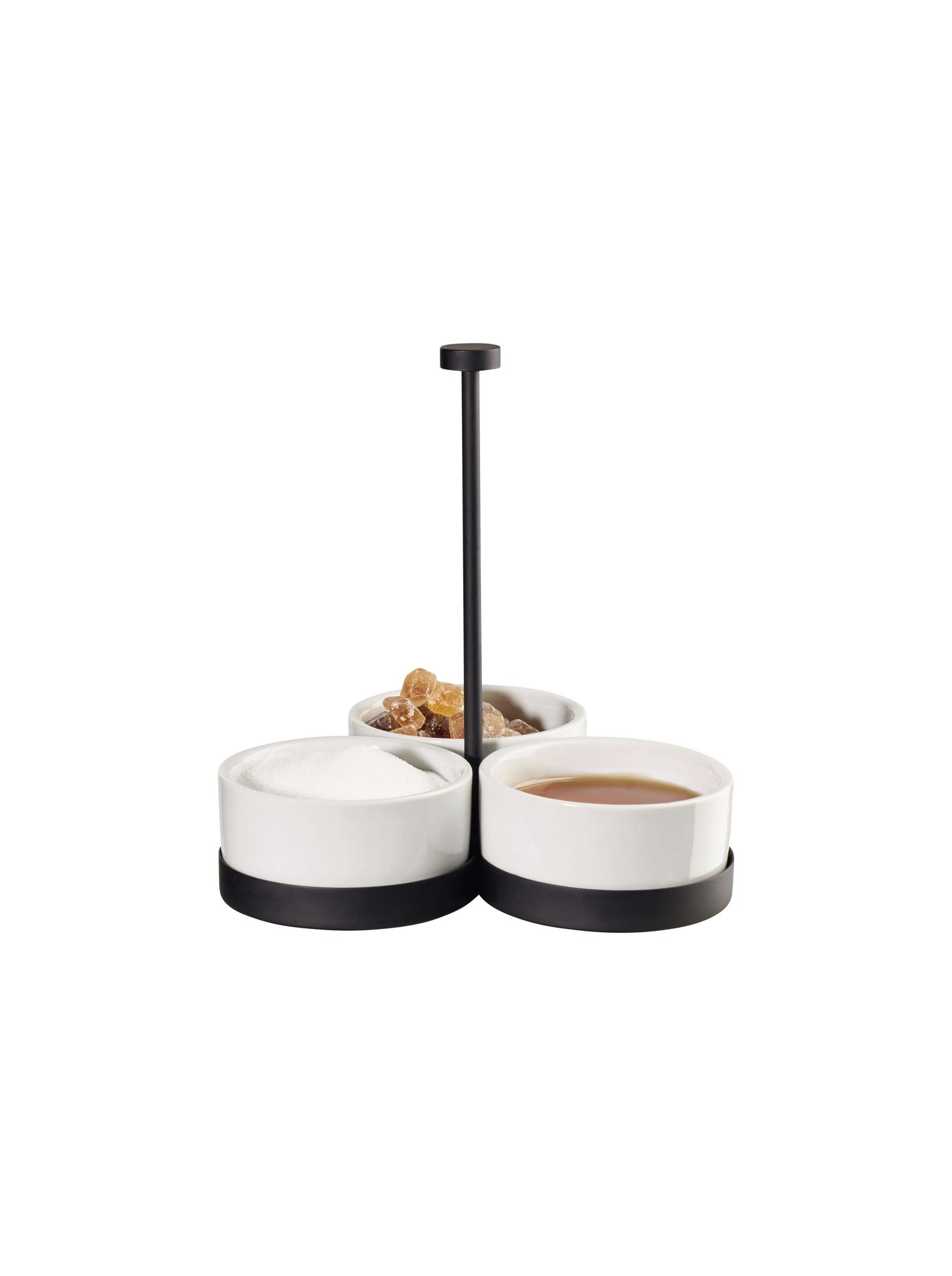 Black and White Dip Set with 3 Porcelain Bowls