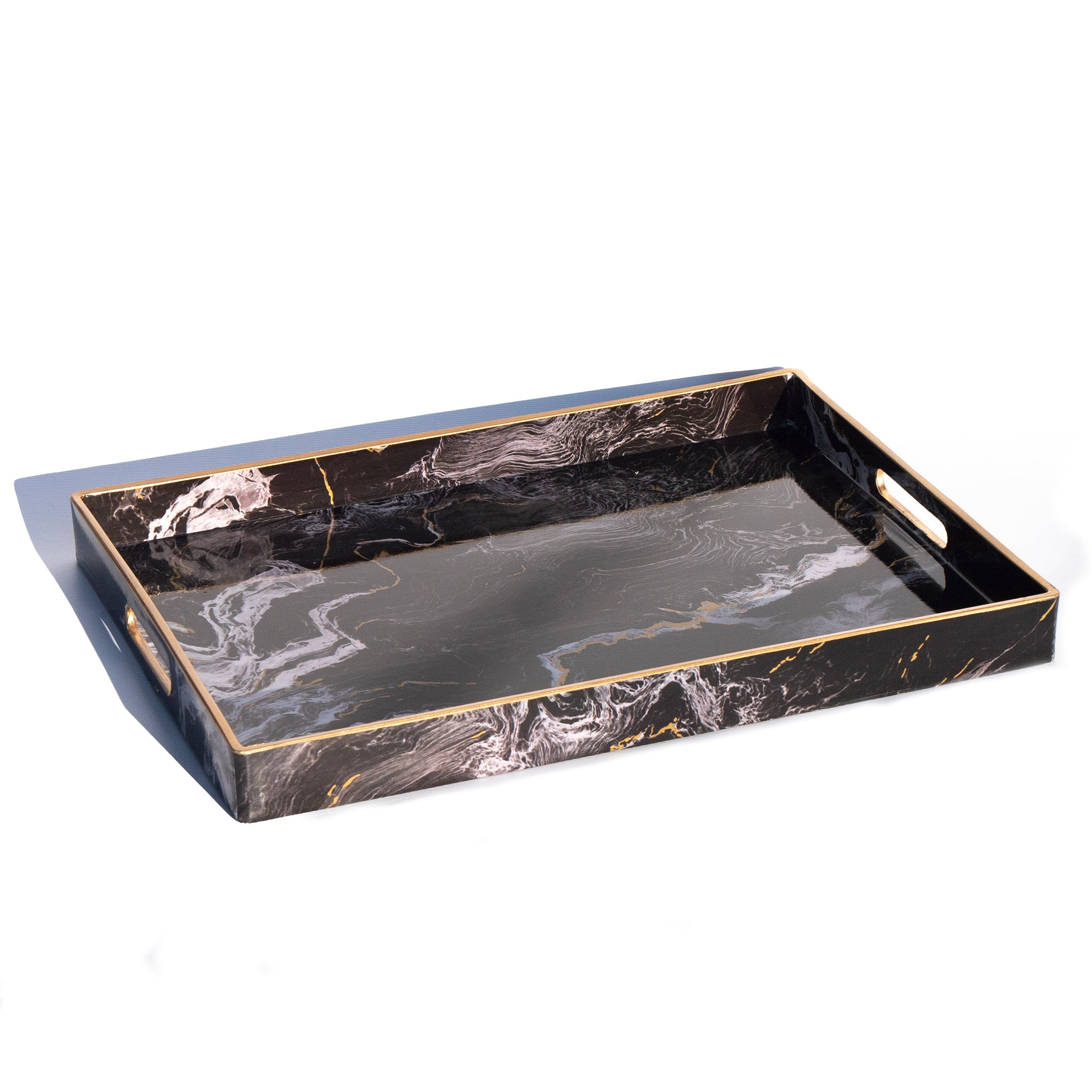 Marble Effect Black Tray, L
