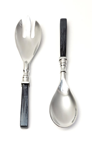 Coloured Enamel Salad Servers, Grey