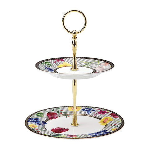 Tea's & C's 2 Tier Cake Stand, White