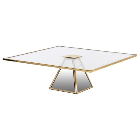 Square Glass/Brass Cake Stand