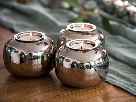 Silver Ball Tea Light Holder