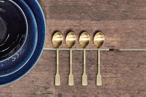 Brushed Gold Tea Spoons - Set of 4