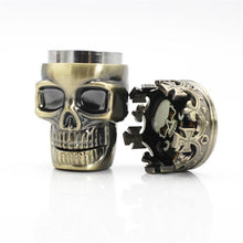 "Load image into Gallery viewer, King Skull 3 Piece Herb Grinder Aluminum Large 2.5"" Spice Grinders"
